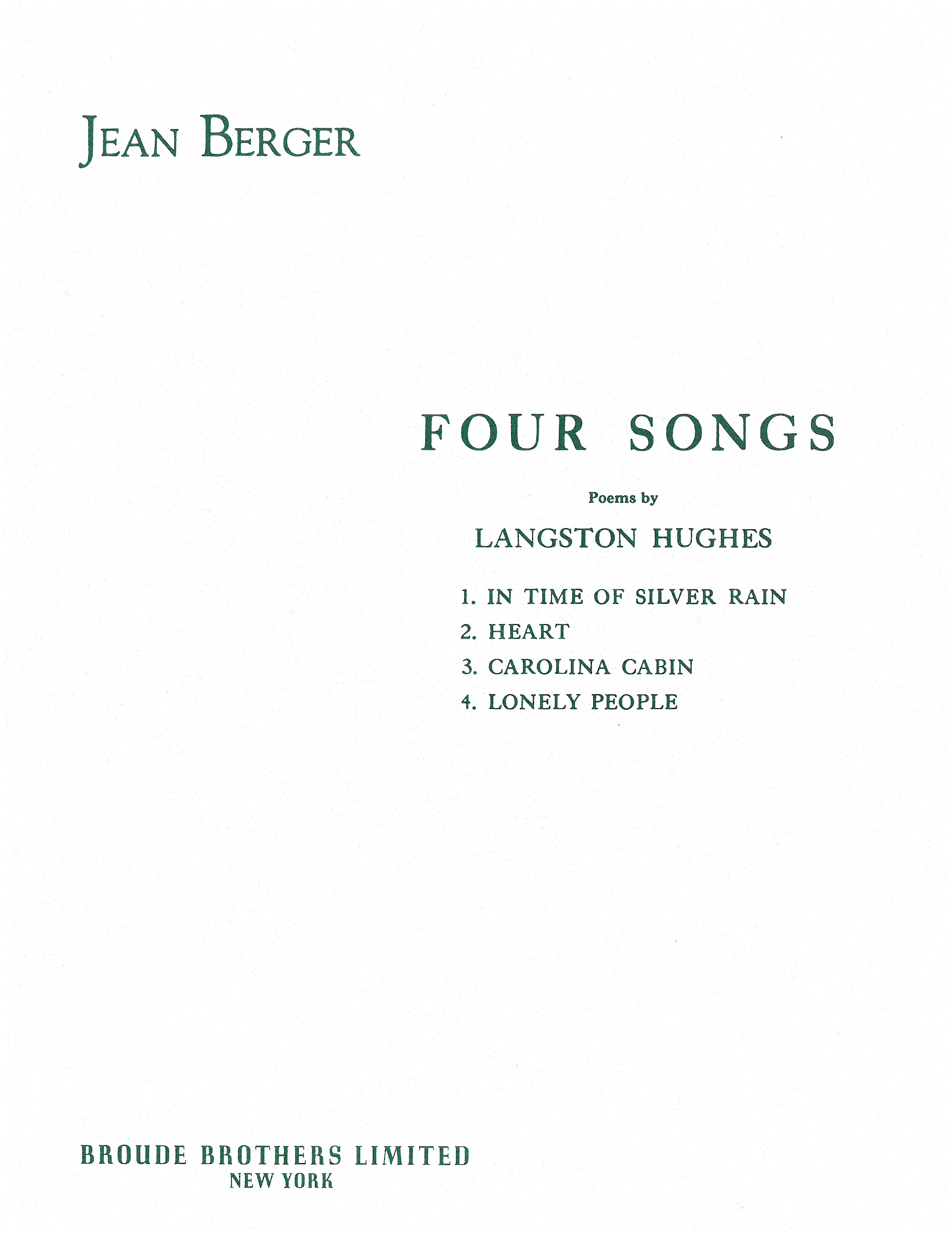 Four Songs Langston Hughes By Jean Berger